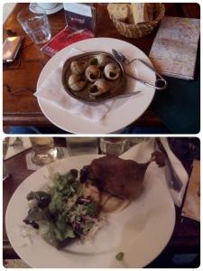 Escargot de Bourgogne and Confit de Canard et Pommes Sautees - Cafe Panis, Notre Dame