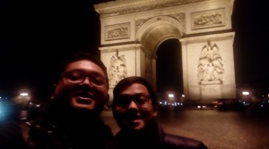 Jhendra & Jerry in front of Arc de Triomphe.